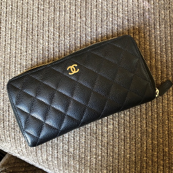 CHANEL Handbags - CHANEL Zip Around Caviar long wallet SHW
